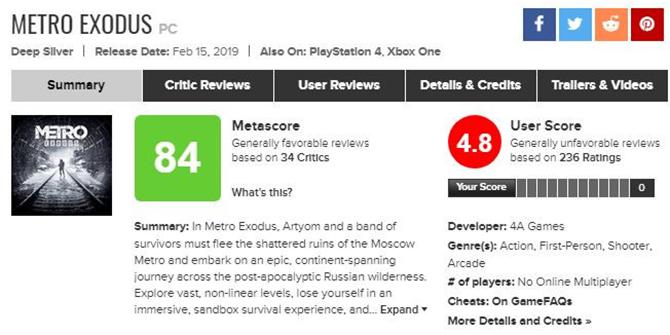 Gracze zbombardowali Metro Exodus na Metacritic [1]