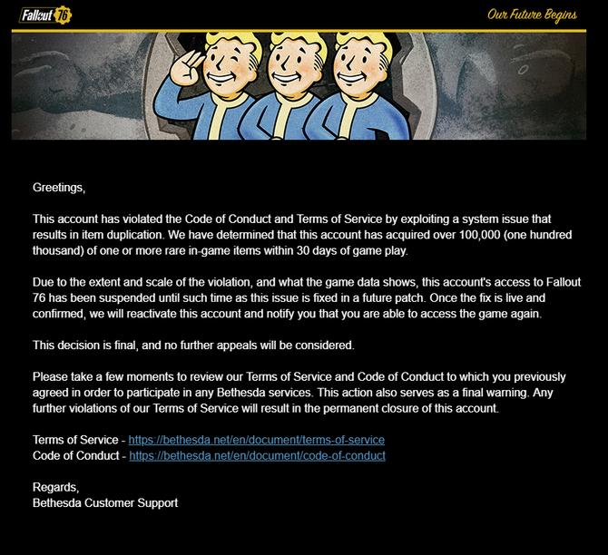 Fallout 76 - Grasz za dużo? Bethesda może cie zbanować [2]
