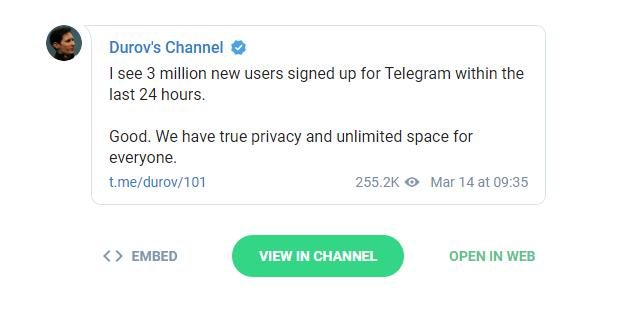 Podczas awarii Facebooka Telegram zyskał 3 mln użytkowników [1]