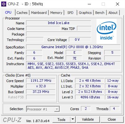 Procesor Intel Ice Lake-U odkryty w bazie programu CPU-Z [2]
