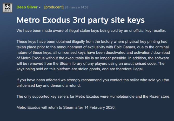 Metro: Exodus - dezaktywacja wersji Steam z kradzionych kluczy [1]