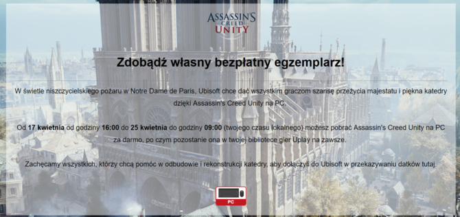 Assassin's Creed: Unity za darmo w związku z pożarem Notre Dame [1]