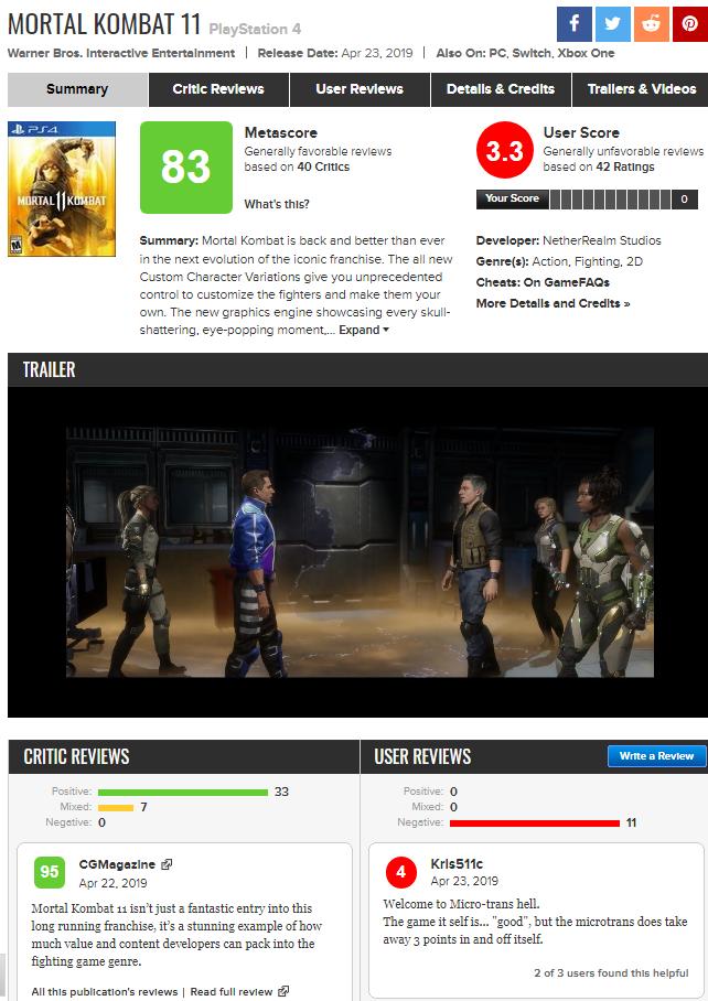 Mortal Kombat 11: Gracze wystawili tylko 3,3 pkt grze na Metacritic [1]