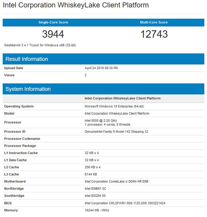 Intel Core i5-10210U pojawił się w bazach GeekBench i GFXBench [2]