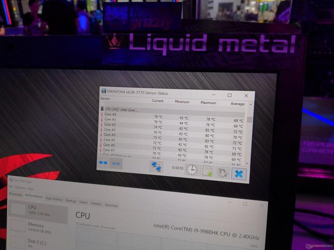 ASUS pokazał działanie ciekłego metalu na Intel Core i9-9980HK [2]