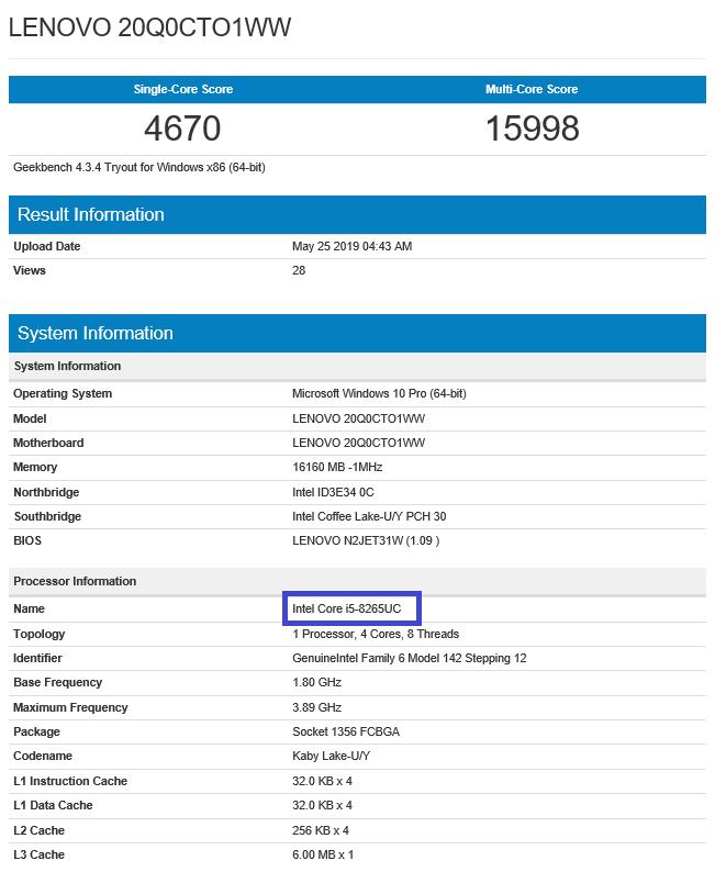Intel Core i5-8265UC w bazie GeekBench oraz UserBenchmark [2]