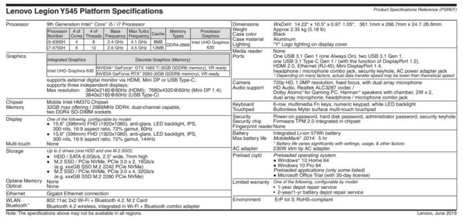 Lenovo Legion Y545 - pierwsze informacje o nowym notebooku [3]