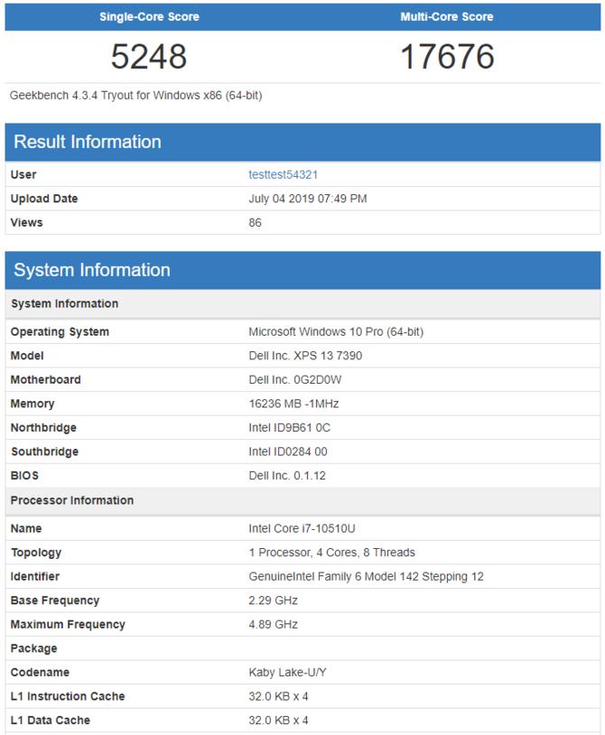 Intel Core i7-10510U w bazie GeekBench - lepszy od Ryzen 7 3750H [2]