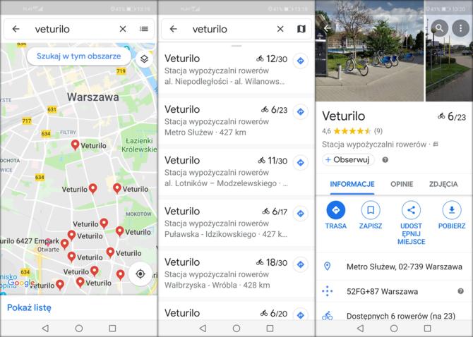 Google Maps: od dziś informacje o rowerach miejskich w Warszawie [1]