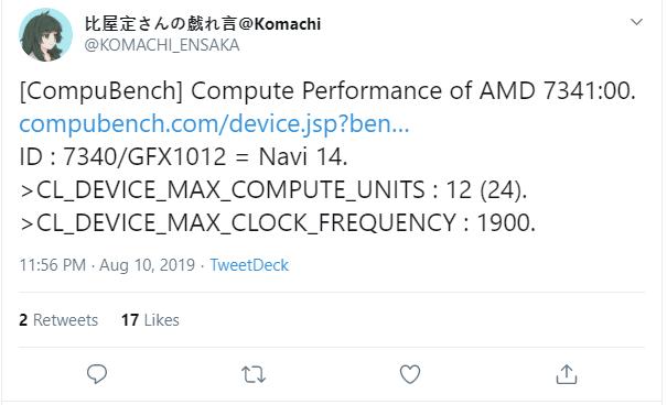 AMD Navi 14 z 8 GB pamięci pojawił się w bazie CompuBench [3]