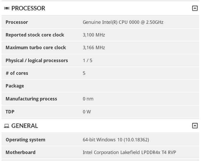 Intel Lakefield - Odkryto 5-rdzeniowy procesor w bazie 3DMark [3]
