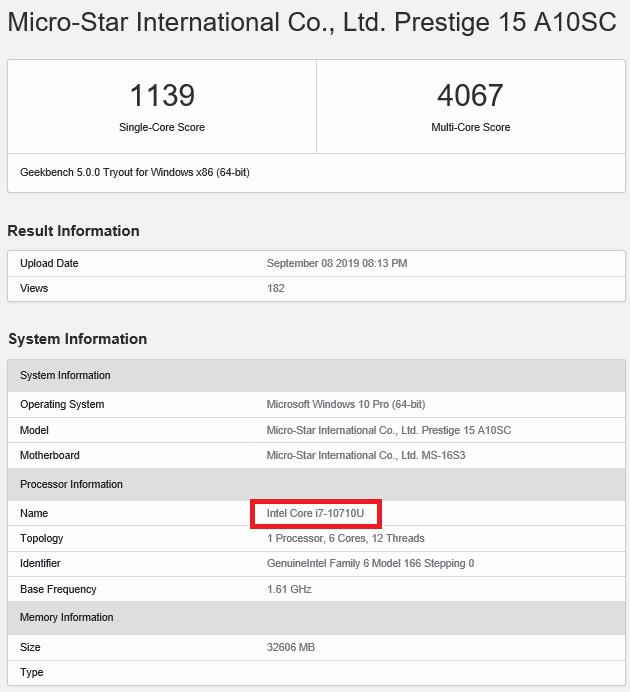 Intel Core i7-10710U z mocą jednego wątku na poziomie i7-9750H [2]