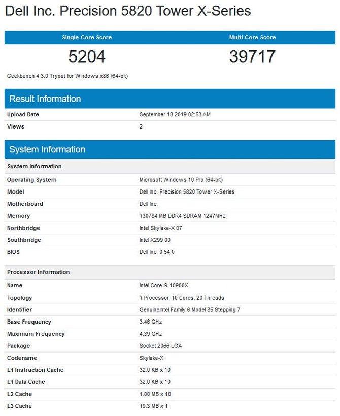 Intel Core i9-10900X - pierwsze wyniki procesora Cascade Lake-X [2]