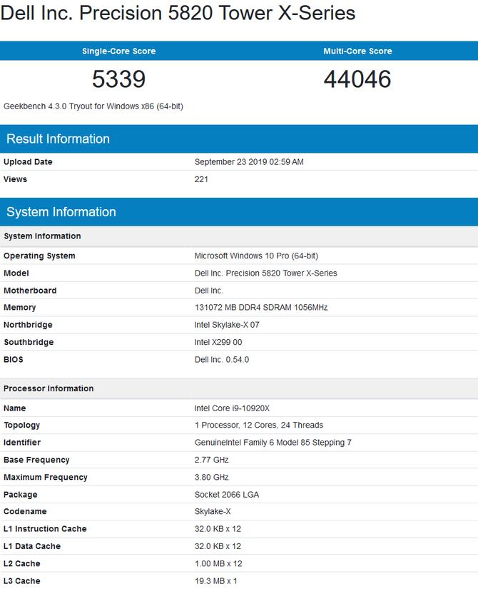 Intel Core i9-10920X oraz Xeon W-2295 z pierwszymi testami [2]