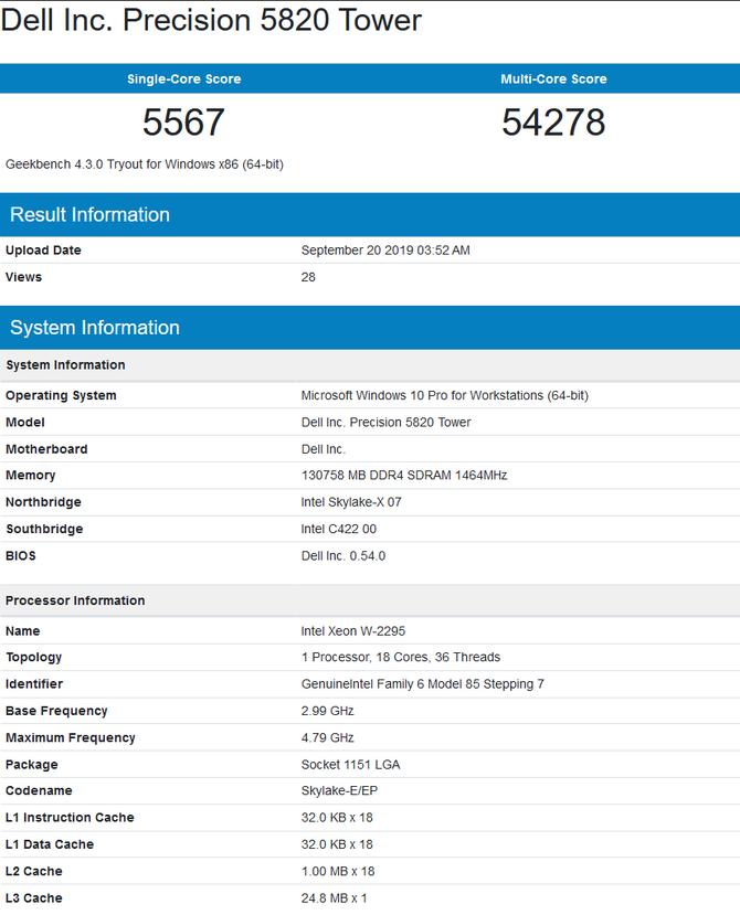 Intel Core i9-10920X oraz Xeon W-2295 z pierwszymi testami [3]