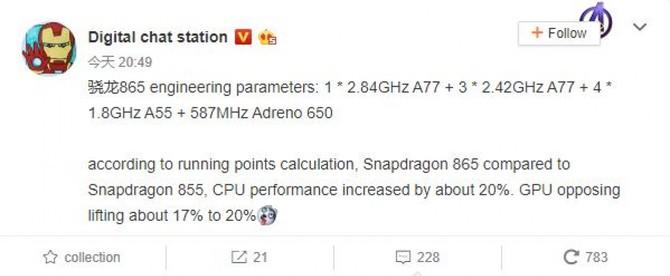 Qualcomm Snapdragon 865 - znamy specyfikację i wydajność chipu [1]