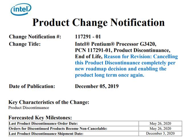 Intel Pentium G3420 zostaje przywrócony do życia na rynek OEM [2]