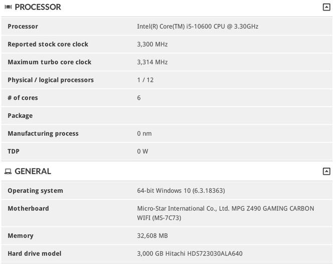 Intel Core i5-10600 w bazie 3DMark. Możliwe 6 rdzeni i 12 wątków [2]