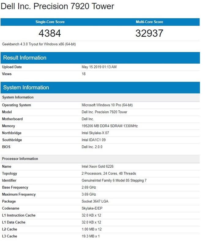 Serwerowy Xeon Gold 6226 to Intel Ice Lake z 12 rdzeniami [3]