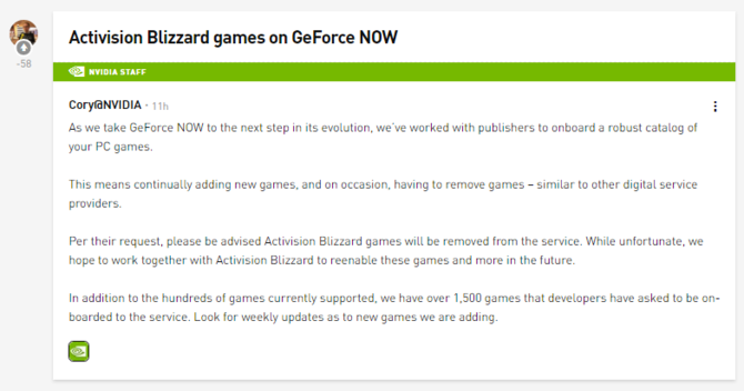 Activision Blizzard znika z GeForce Now. Platforma bez Call of Duty [1]