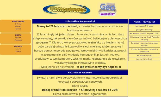 Komputronik - najstarszy sklep internetowy w Polsce ma już 22 lata [1]