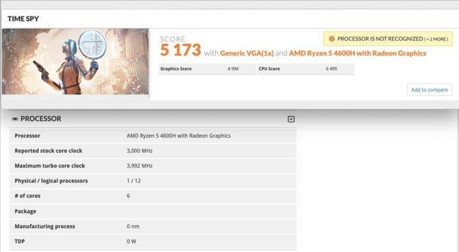 AMD Ryzen 5 4600H - pierwsze wyniki na poziomie Core i7-9750H [1]