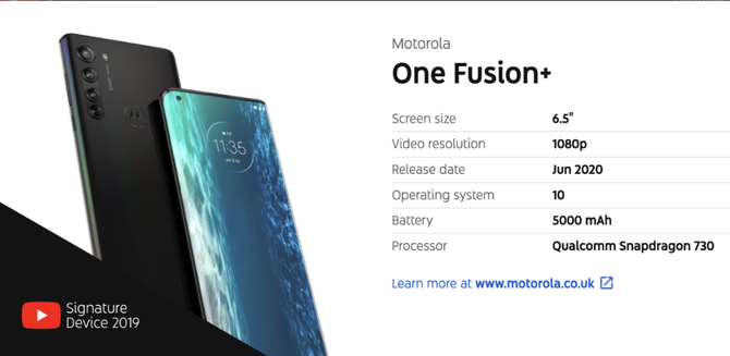 Motorola One Fusion+ na wycieku z YouTube Device Report [2]